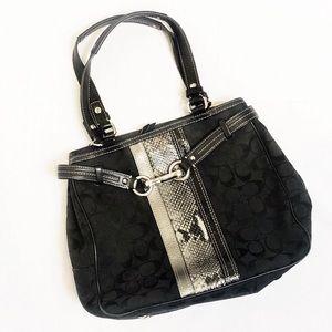 Coach Nancy Logo Python Stripe Bag